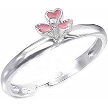 Kinder Ring Herz Rot Streifen 925 Silber Mädchen Fingerring Schmuck