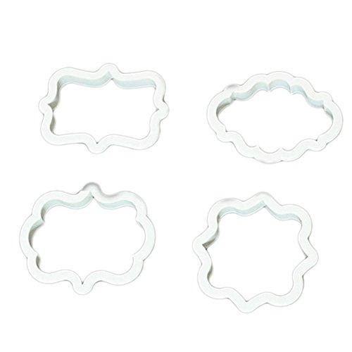 oumosi 4pcs/set útil para hornear herramienta 1Juego de oval + Rectángulo y marco cuadrado pastel galletas cortador de galletas, plástico paquete de herramientas de molde para tartas de