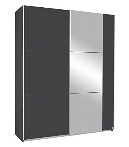 Rauch Kronach Schwebetürenschrank mit Spiegel 2-türig, Grau-Metallic Nachbildung, BxHxT 175x210x59 cm