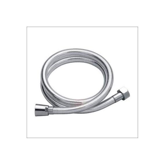 QTM+ PVC Flexible Shower Hose Pipe 1 m Chrome Tube, Faucet Bidet Toilet Spray Pipes for Bathroom (Silver)