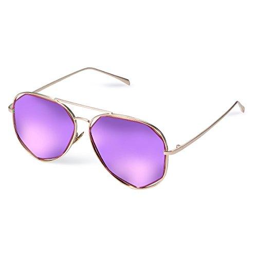 Duduma Gafas de Sol Aviador Polarizadas Manera con Lente Plana y el Marco del Metal Vintage Baratas para Mujeres y Hombres 0713 (Marco de oro con lente de espejo rosa púrpura)