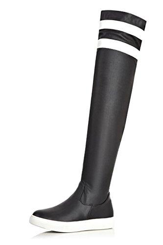 VogueZone009 Damen Ziehen auf Niedriger Absatz Rund Zehe Rein PU Leder Stiefel, Schwarz, 38