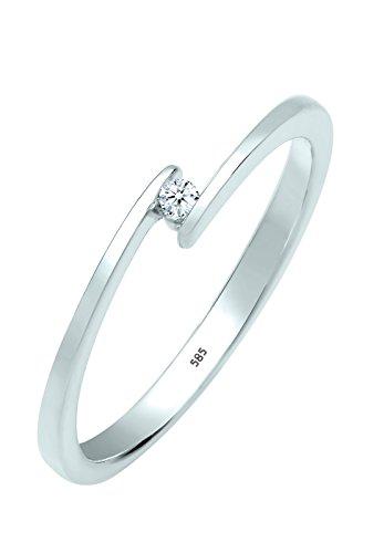 Diamore Anello di Fidanzamento da Donna  in Oro Bianco 585 con Diamante 0.03ct, Misura 12