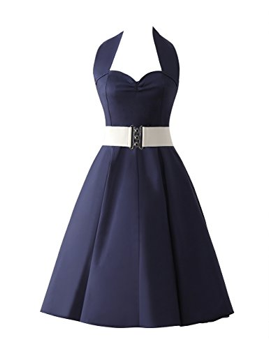 VKStar®Retro Chic ärmellos 1950er Audrey Hepburn Kleid / Cocktailkleid Rockabilly Swing Kleid Marineblau - 2