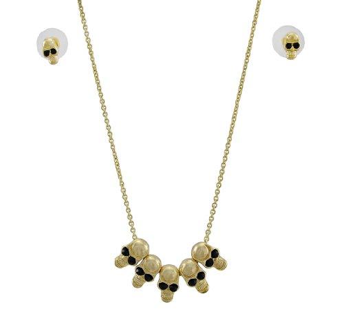 Skull-vorhängeschloss (Gold ton Totenkopf Bead Halskette und Ohrringe Set)