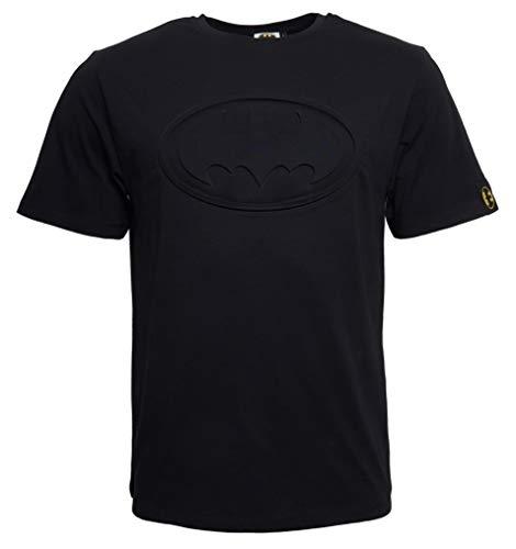 Batman Tshirt Herren Logo Schwarz - DC Comics Batman T-Shirt mit geprägtem Logo (XL) (The Dark Knight Masken)