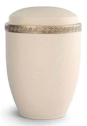 Verbrennung Asche Urne/Casket–Erwachsene Größe–Stahl Urne (Athena Special Edition)–Creme mit Gold Block Spirale Grenze
