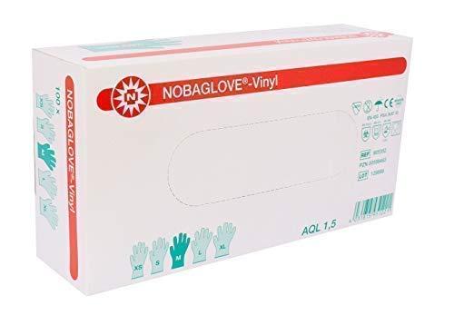 Medium Stück (100 Stück Einmalhandschuhe NOBAGLOVE Vinyl Puderfrei Größe: medium ( mittel ))