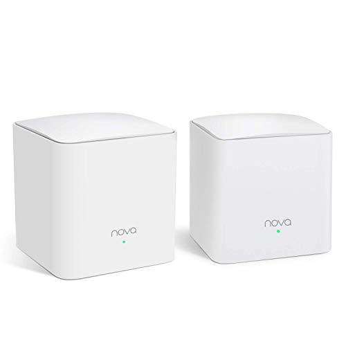 Tenda Nova MW5s-2 Système Wi-Fi Mesh pour Toute la Maison(Routeur Wifi remplacement) Couverture Wi-Fi de 200m², 2 Ports Gigabit, Contrôle Parental, Compatible avec Alexa, 3 ans de Garantie (Pack de 2)