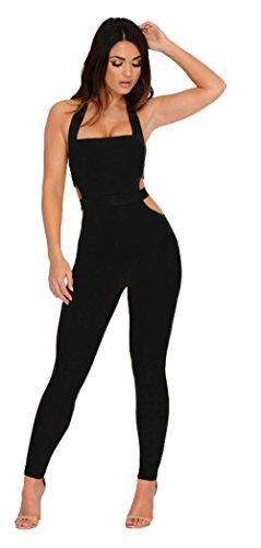 Longwu frauen ärmellose bodysuit schulterfreien rückenfrei elastischen eng anliegende sexy overall (Sexy Billig Kostüme Frauen)