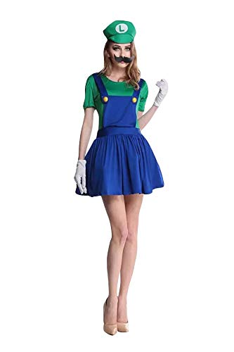 thematys Super Mario Luigi Mütze + Kleid + Bart + Handschuhe - Kostüm-Set für Damen - perfekt für Fasching, Karneval & Cosplay (M, 155-160cm - Super Frauen Kostüm