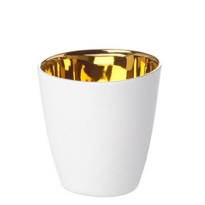 Tasse à Expresso Assoiffée Porcelaine Blanc Brillant et Or Diam 5 cm Tsé & Tsé