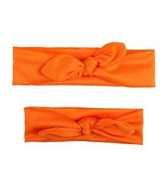 ind-Kleinkind-Stirnband Eltern-Kind Hairband Bogen-Knoten-Turban-Baumwolle-Ebenen-Haar-Zusätze (Orange) ()