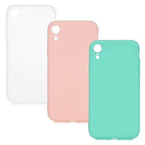 Hülle für iPhone XR, 3X Candy Farbe Handyhülle Case, Silikon Schale Schutzhülle Handytasche Crystal Clear Durchsichtig Cover in Mintgrün + Rosa + Weiß -