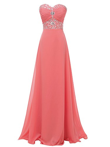 Solovedress Frauen Chiffon lang Abend Abendkleid Kristall Brautjungfer Kleid Ballkleid(Koralle, Eur36)