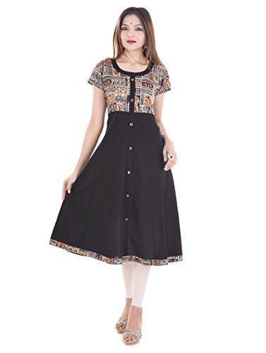 Palakh Women's Cotton A-line Kurti (PK1015500-L-Large,Black)
