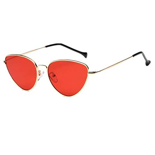 Dorical Damen Sonnenbrillen, Frauen Vintage Katzenaugen Sonnenbrille Retro Kleine Rahmen UV400 Brillen Sale(Rot)