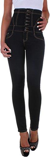2e5be774756e58 BD Damen High Waist Stretch Jeans Hose Hochschnitt Corsage Röhrenjeans mit  Schnürung schwarz