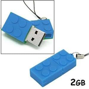 iBlock Brick 2GB USB Pen Drive Memory Stick Designed Just Like The Popular Childrens Plastic Building Bricks (Blue)