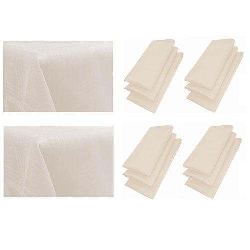 12er Pack Textil Servietten 44cm x 44cm + 2x Tischdecke 100% Baumwolle in Beige / Hellbraun