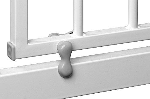 IB-Style - Treppengitter / Türgitter BERRIN zum Klemmen | 75 - 175 cm Erweiterbar durch Verlängerungen | Auto-Close - automatisches Schließen | 90° Stop-Funktion | Einhand-Bedienung | Öffnen in beide Richtungen | Metall Weiß | Spannbreite 75 - 85 cm - 4