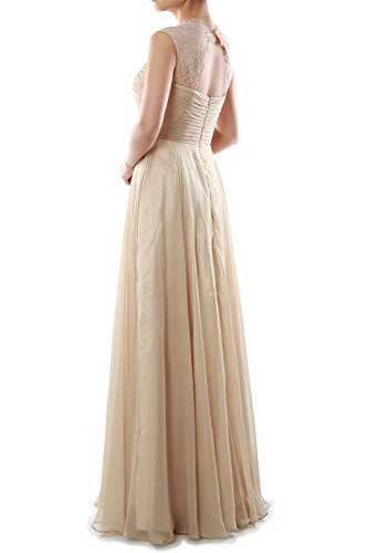 MACloth Women Lace Straps Chiffon Long Bridesmaid Dress Formal Evening Gown Champagner