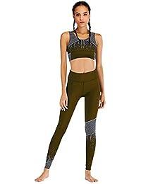 ffc6252f004e Donna Tuta da Ginnastica 2 Pezzi Crop Top e Pantaloni Vita Alta  Abbigliamento Sportivo Estivo Stampa