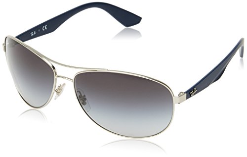 Ray-ban rb 3526, occhiali da sole unisex-adulto, argento (silver blue), 63 mm