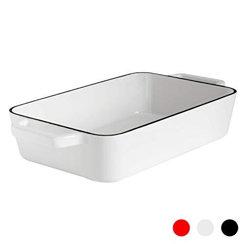 Argon Tableware Fuente Rectangular para Horno - para asados, lasañas y guisos - Hierro colado - Blanco...
