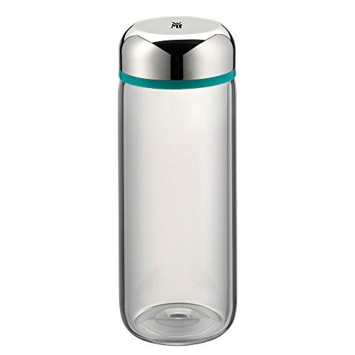 WMF Basic Trinkflasche, 500 ml, Höhe 19 cm, Glasflasche, für Warm- und Kaltgetränke, Glas, Cromargan Edelstahl, in Geschenkkarton, türkis