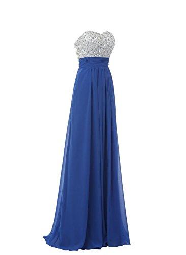 YiYaDawn Langes Rückfreies Abendkleid Ballkleid mit Steinen für Damen Königsblau