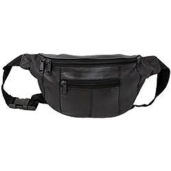 RAS Negro de viaje en piel bolsa riñonera cuero cintura con cinturón ajustable - 1013