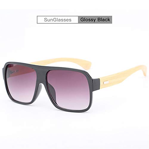 YHW-GLASSES-0819 Gläser Klassische Vintage Retro große Linse Big Frame Holz Sonnenbrille Männer und Frauen Modelle Bambus Beine Sonnenbrille YHWCUICAN (Color : Giossy Black)