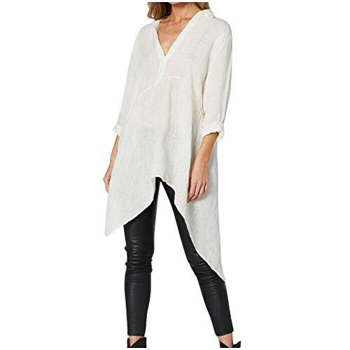CixNy Tunika Damen Langarm T-Shirts Asymmetrisch Unregelmäßig Leinen Bekleidung Mode Herbst Winter V-Ausschnitt Tops Polo Weste Hemd Bluse (XL, Weiß) -