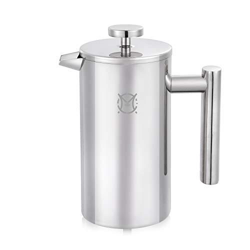 Magicafé French Press Kaffeemaschine, für 2 oder 3 Tassen aus Edelstahl, doppelwandig, 750 ml