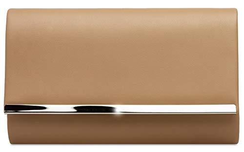 Caspar TA415 elegante Damen Envelope Clutch Tasche Abendtasche, Farbe:nude, Größe:One Size