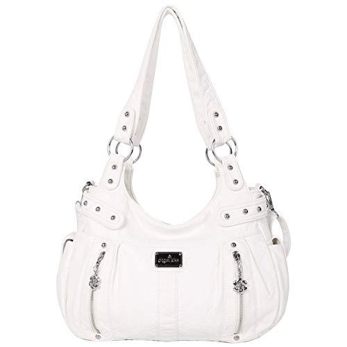 angel kiss Damen Handtasche Lässige Schultertasche Umhängetaschen Hobo Taschen Henkeltaschen Leder für Arbeit Schule Shopper Weiß