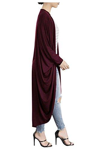 Beaii Damen Fledermausärmel Lang Strickjacke Open Front Maxi cardigan Casual Mantel Pullover Outwear WineRot