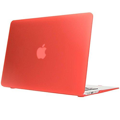 NALIA Hardcase kompatibel mit MacBook Air 13 Zoll (2015), Ultra-Slim Case Hülle Cover Schutzhülle Matt, Transparent Protector Sleeve Hartschale, Front& Backcover Laptop Tasche Skin Dünn, Farbe:Rot Transparente Front Leder