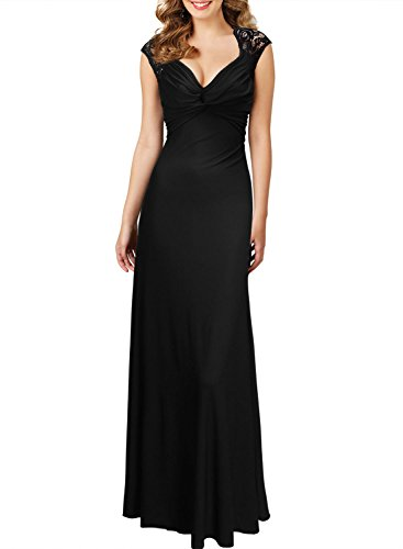 Miusol Vestidos Para Mujer Verano Vintage Casual Coctel V Cuello Fiesta Para Bodas Largos De Noche Ceremonia Ropa Vestidos Negro Large