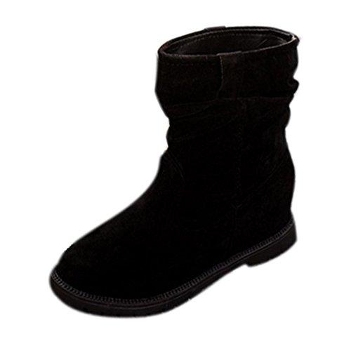 Botas Para Mujer Koly Invierno Cuña Botines Rebaño Tobillo Botas Planas Zapatos Tubo de Plataforma Zapatos de Mujeres Mujer Classic Solid Lined Impermeable Invierno Rain Nieve Botines (40, Negro)