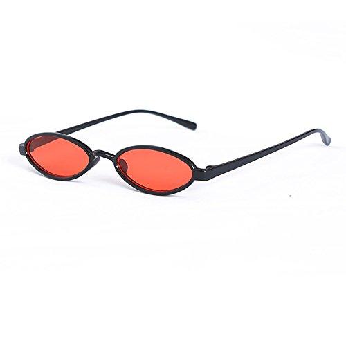 Yiwa Punk klein Rahmen Sonnenbrille UV400Luxus Oval Brillen Fashion Vintage Style Eyewear Brille, Black Frame Orange Lens