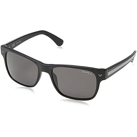 Police Polarizzata occhiali da sole rettangolari classici in nero opaco SPL165 703P 55