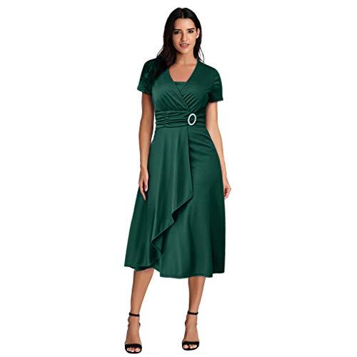 RANTA Damen Sommerkleid mit asymmetrischem Saum, V-Ausschnitt, gerüscht, Kurze Flatterärmel, elegant, Polyester Gr. XXX-Large, Green5171 (Günstige Dress-websites Fancy)