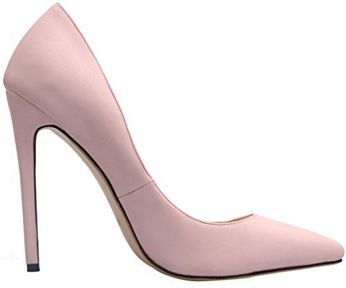 Calaier Femme Caelse Pointures Européennes 34-46 Aiguille 12CM Glisser Sur Escarpins Chaussures PU rose