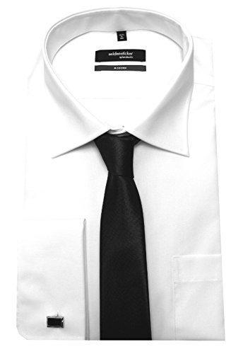 Seidensticker Manschetten Hemd Weiß mit Krawatte u. Man.Knöpfe XL 44