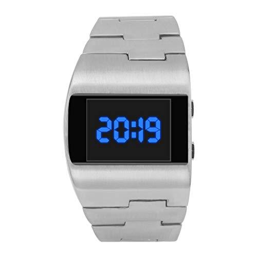 YEARNLY UnisexRetro Armbanduhr,Legierung Band,Coole Mode schöne breite Zifferblatt Stahlband Monochrom digitale elektronische Uhr (Mk Rose Gold-männer Uhren)