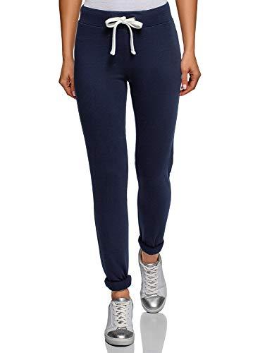 oodji Ultra Femme Pantalon de Sport en Maille avec Lien à Nouer Décoratif, Bleu, FR 40 / M
