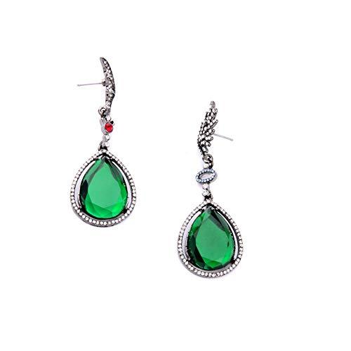 ZHOUYF Ohrringe Ohrstecker Ohrhänger Online-Shop Nachahmung Smaragd Schmuck Grünen Kristall Wassertropfen Flügel Ohrringe