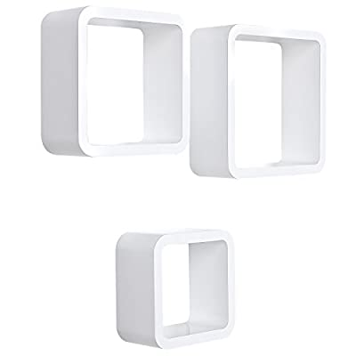 Songmics Set of 3 Square Wall Shelves Floating Cube Shelf Retro Design White LWS104 - inexpensive UK light store.